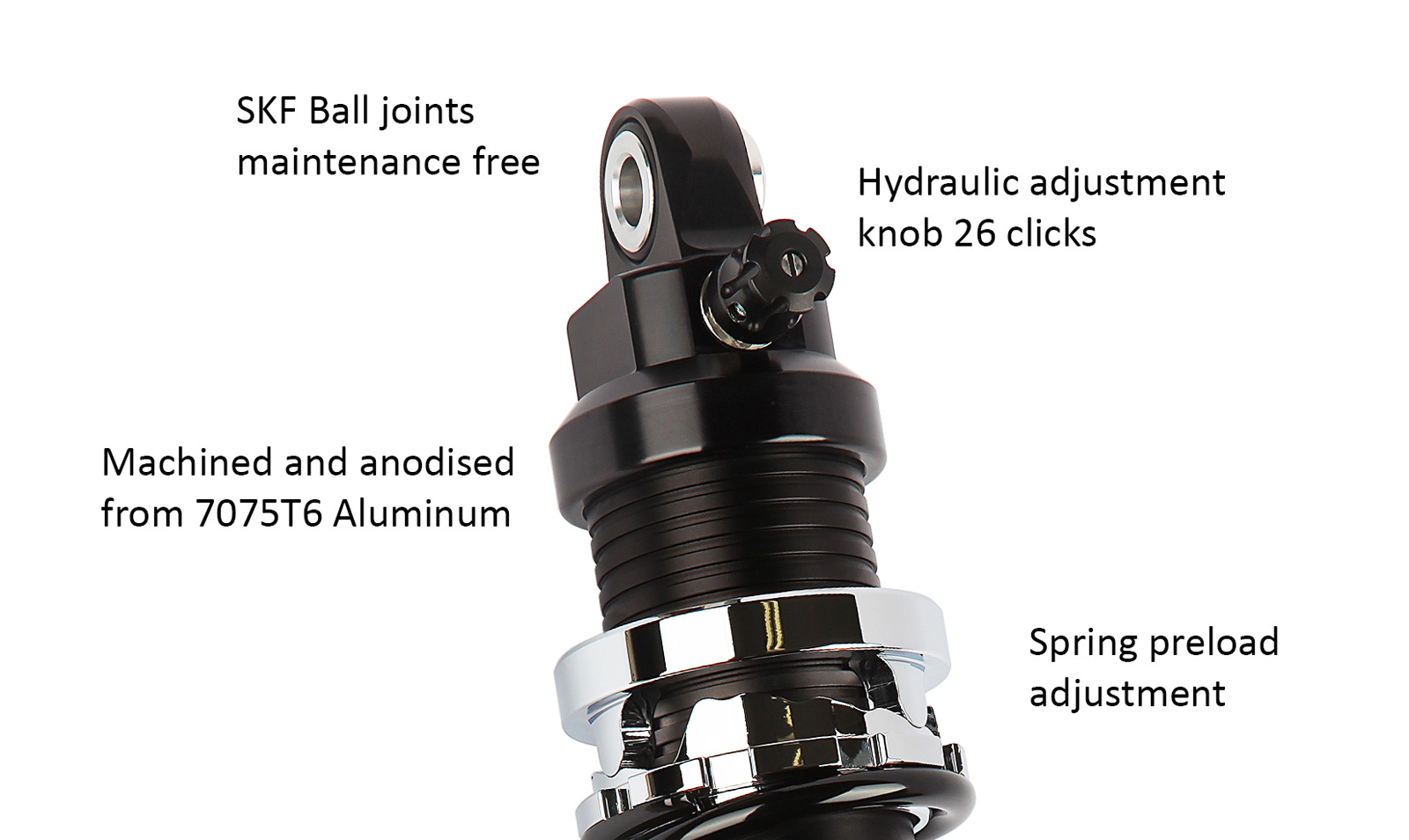 Details - Black and Chrome shock absorber